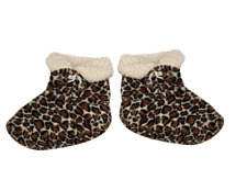 BROWN BLACK WHITE LEOPARD ANIMAL PRINT FLEECE BOOTIES SOCKS SLIPPERS NON SLIP, M
