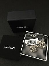 New NIB CHANEL Large CC Logo RARE Pearls Light Gold Studs Pierced Earrings