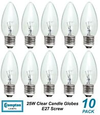 10 x 25W Clear E27 Candle Shaped Light Globes / Bulbs / Lamps Screw