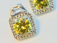 New Solid Sterling Silver Earrings With Yellow And White Topaz
