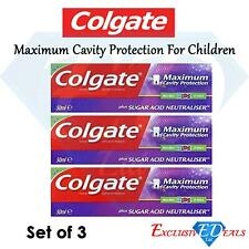 3 x Colgate Max Cavity Protection Kids 50ml Mint Flavour Sugar Acid Neutraliser
