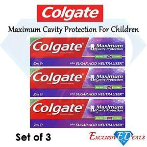 3 x Colgate Max Cavity Protection Kids 50ml Mint Flavour Sugar Acid Neutraliser