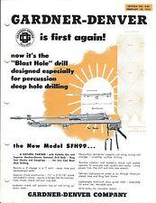 Equipment Brochure - Gardner-Denver - Sfh99 - Blast Hole Drill - c1962 (E3566)