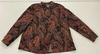 Coldwater Creek Womens Rust Brown Red Button Up Paisley Printed Jacket sz L