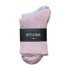 Braga Italy Socks Cashmere Merino Wool Women's Soft Pink Grey Crew Boot
