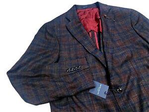 Peter Millar Collection Men's Wool Blend Blue Plaid Sport Coat Blazer 42R $1,098