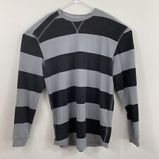 Mens Volcom Thermal Long Sleeve Striped Shirt Size XXL 2XL Gray