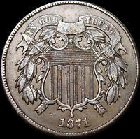 1871 Two Cent Piece 2cp Coin1871/1 Recut 1 ERROR STUNNING Rare  FS-301 --  #W614