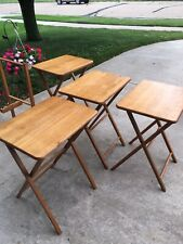 Wooden Folding TV Tray Tables With Stand