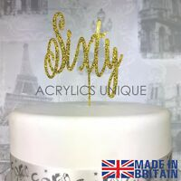 60th Birthday acrylic cake topper, sixty cake topper. 19 COLOURS AVAILABLE