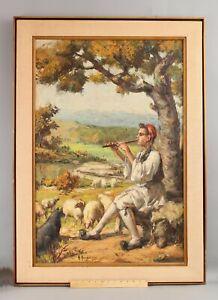 ANTONIS KARAFYLLAKIS Greek Oil Painting, Shepherd Boy Playing Flute w/ Sheep NR