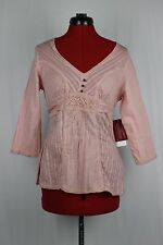 QUIZZ BAZAAR Pink Eyelet Cutout Crochet Boho Peasant Babydoll Blouse Top NWT Med