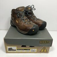 Keen Detroit XT Mid Men's Size 8.5 Steel Toe Work Boots Waterproof Brown Leather