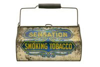 "Rare 1910s ""Sensation"" litho lunch pail tobacco tin in fair condition"