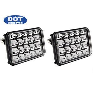 """4X6"""" DOT LED  Light Bulbs Crystal Clear Sealed Beam Headlamp Headlight Pair"""
