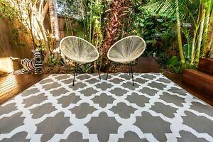 200x270cm MOROCCO Outdoor Plastic Rug Grey