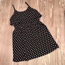 ELLE Large Popover Tiered Dress Polka Dot Flutter Adjustable Straps Pinup Retro