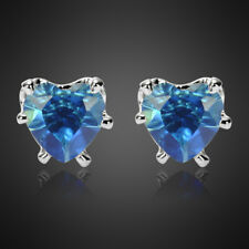 Xmas Jewelry Lady Heart Cut Blue Sapphire White Gold Plated Stud Earrings New