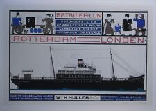 Reproduction Print  CLASSIC EUROPEAN POSTER 1916 ROTTERDAM-LONDON BATAVIER LINE