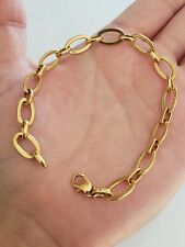 14k Yellow Gold Large Oval Link Bracelet 7.5 inches