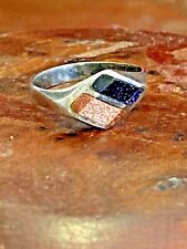 Blue Goldstone Band Ring Size 5, 3g Vintage Mexico 925 Sterling Silver Orange &