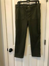 J CREW WOMEN'S JEANS SIZE 31 'VINTAGE STRAIGHT CARGO' OLIVE GREEN VGUC