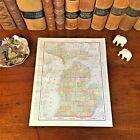Large Original 1898 Antique Map MICHIGAN Warren Lansing Troy Taylor Grand Rapids