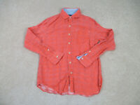Tommy Bahama Button Up Shirt Adult Medium Orange Long Sleeve Linen Casual Mens