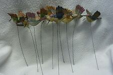 """Lot of Ten Artificial Hummingbirds for Crafts, Floral, Wreaths, 3 1/2"""" long o"""