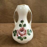 """Homerus Hand Painted Vase 4"""" Gold Trim With Flowers vintage pottery homer us urn"""