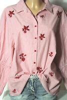 PRIMARK Bluse Gr. 44  rosa-weiß gestreift Bluse/Hemd mit Blumen-Stickereien