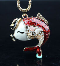 AF602 Betsey Johnson Crystal Enamel Wearing a hat of Fish Sweater chain Necklace