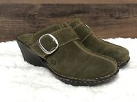 BORN Olive Green Suede Clogs / Slip On Wedge Comfort Shoes Women's Size 10