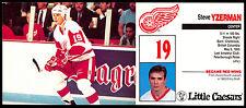 1980's #19 Steve Yzerman DETROIT RED WINGS Little Caesars hockey NM TEAM card