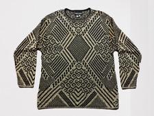 Vintage Pierre Cardin Metallic Gold & Black Geometric Print Sweater Size Large