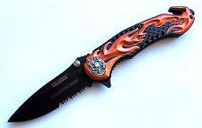 Taschenmesser Skull Flames Collector orange Scheibenhammer Gurtschneider Knife