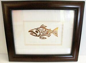 "Haida SKAAGI Salmon Gold Bill Reid Framed Reproduction Print Canada Art Card 17"""