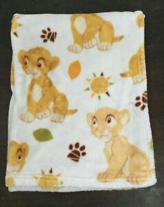 Lion King Baby Blanket Disney Simba Lama Plush Green Leaves Paw Prints 30x40