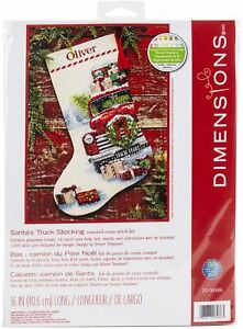 """Dimensions Counted Cross Stitch Kit 16"""" Long-Santa's Truck Stocking"""