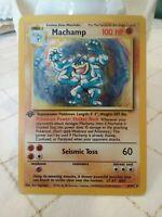 Pokemon Machamp 8/102 Base Set 1st Edition Holo Card