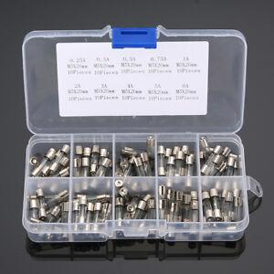 100tlg. 0.25A-6A Feinsicherung Sortiment Glassicherung Glasrohr Sicherung Set DA