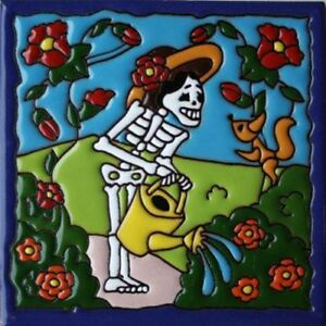 "6""x6"" Gardening. Day-Of-The-Dead Dia de los Muertos Mexican Tile, FREE SHIPPING."