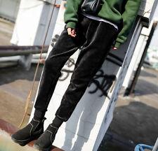 New Winter Warm Womens Casual Harlan Velvet Pants Elasticity Waist Black SZ M
