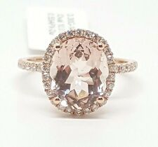 14k Rose Gold Genuine Diamond & Oval Pink Morganite Halo Engagement Ring 3.10TCW