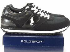 NEW Ralph Lauren Polo Sport Mens Slaton Pony Fashion Sneakers 11 D Black/White