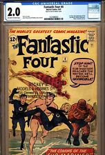 FANTASTIC FOUR #4 CGC 2.0 1st, S.A. app. Sub Mariner! Marvel Comics 1962