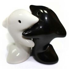 Novelty Hugging Dolphins Salt and Pepper Shakers Pots Mills Black and White