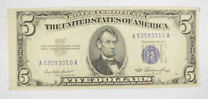 RARE - Crisp 1953 - Silver Certificate $5 Blue Seal $5 Higher Grade! *095