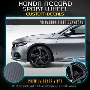 For 2018-2020 Honda Accord Sport Wheel Chrome Delete Vinyl Kit - 4D Carbon Fiber
