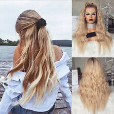 Women Blonde Long Full Wavy Front Lace Wig Curly Natural Hair Full Wigs Cosplay